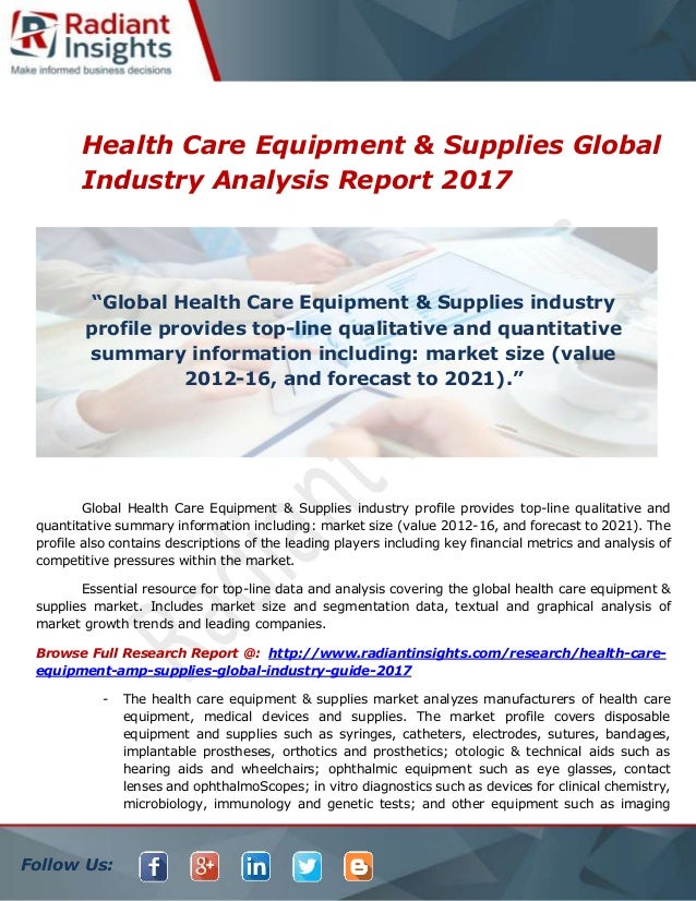 great fit 23e17 d9758 Follow Us  Health Care Equipment   Supplies Global Industry Analysis Report  2017 Global Health Care ...