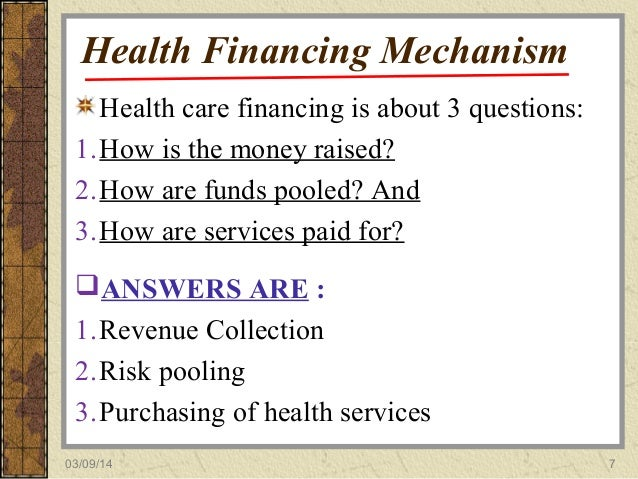 Methods Of Health Care Financing In The United States