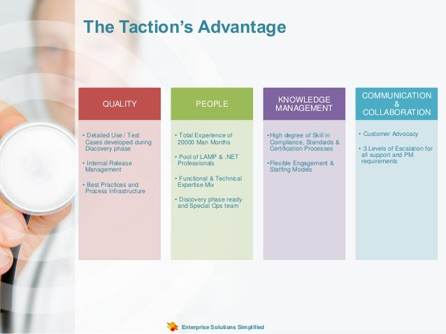 The Taction's Advantage Enterprise Solutions Simplified QUALITY • Detailed Use / Test Cases developed during Discovery pha...