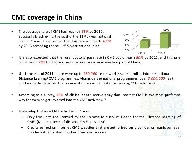 CMEcoverageinChina • ThecoveragerateofCMEhasreached85% by2010, successfullyachievingthegoalofthe11th 5-y...