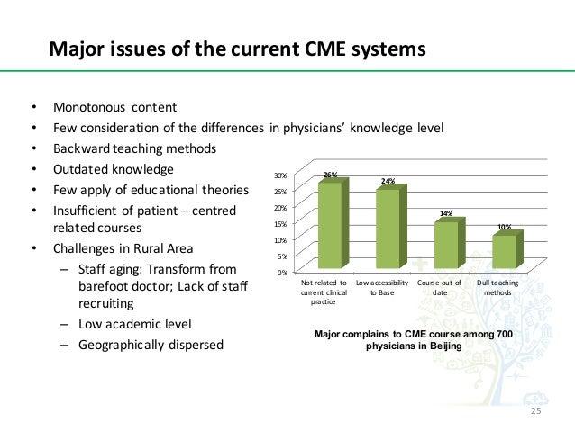 MajorissuesofthecurrentCMEsystems Major complains to CME course among 700 physicians in Beijing • Monotonous conten...