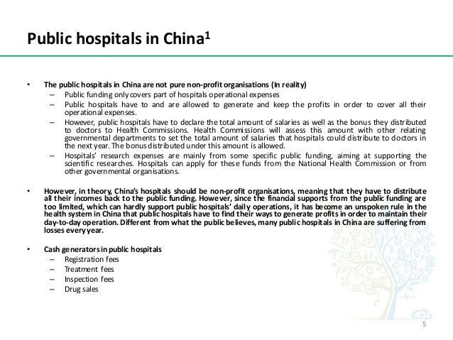 PublichospitalsinChina1 • The public hospitals in China are not pure non-profit organisations (In reality) – Public fun...