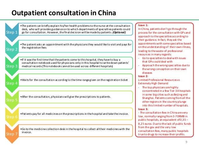 OutpatientconsultationinChina Step1 •Thepatientcanbrieflyexplainhis/herhealthproblemstothenurseattheconsu...