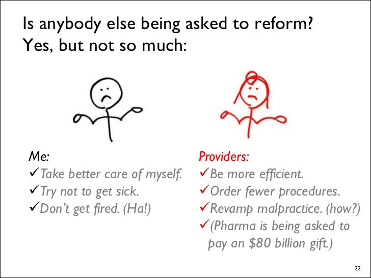 In the end, who will pay for any reform?                            Me.      Assuming I'm presently employed and covered, ...