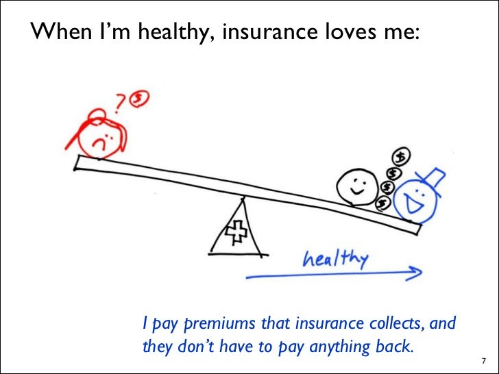 When I'm healthy, insurance loves me:               I pay premiums that insurance collects, and           they don't have ...