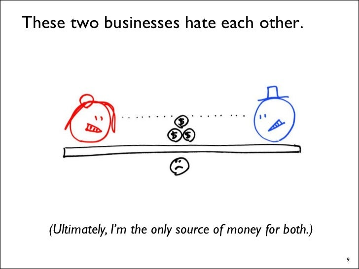 These two businesses hate each other.        (Ultimately, I'm the only source of money for both.)                         ...
