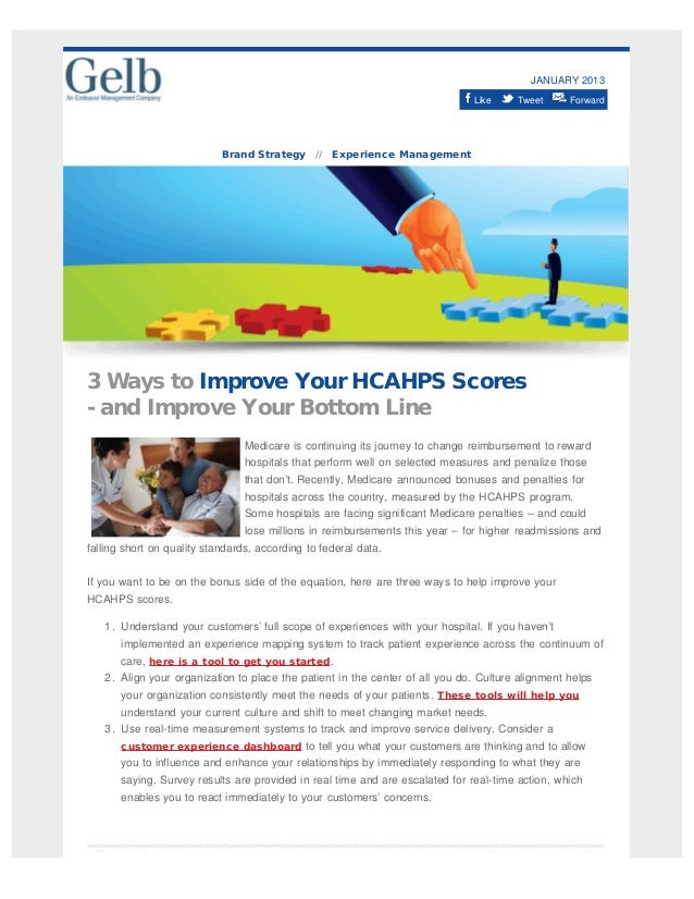JANUARY 2013 Like Tweet Forward Brand Strategy // Experience Management 3 Ways to Improve Your HCAHPS Scores - and Improve...