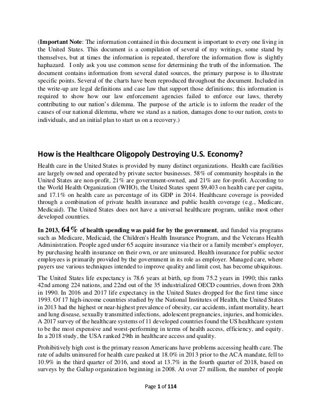 Page 1 of 114 (Important Note: The information contained in this document is important to every one living in the United S...