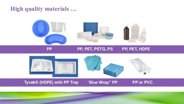 """High quality materials … PP PP, PET, PETG, PS PP or PVC""""Blue Wrap"""" PP PP, PET, HDPE Tyvek® (HDPE) with PP Tray"""