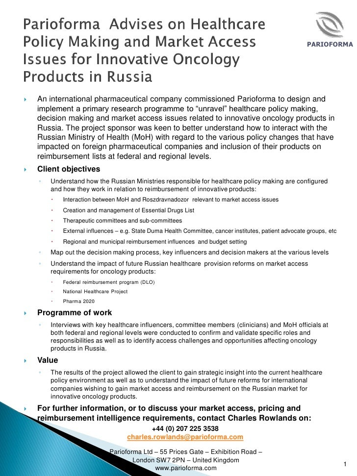 PARIOFORMA   An international pharmaceutical company commissioned Parioforma to design and    implement a primary researc...