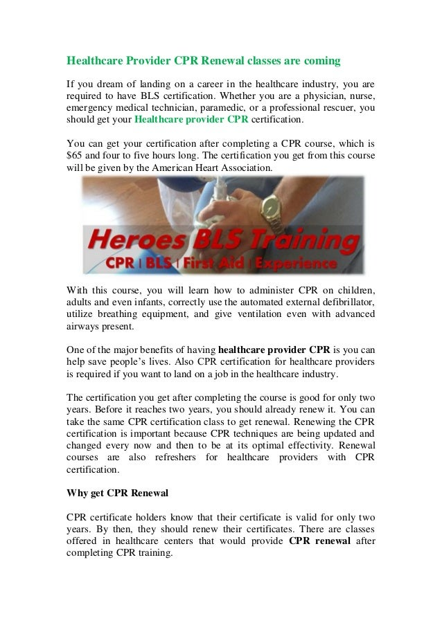 Healthcare Provider Cpr Renewal Classes Are Coming