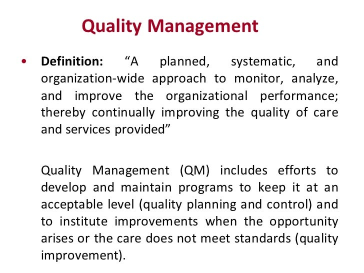 definition of quality in tqmthe concept Total quality management (tqm) refers to management methods used to enhance quality and productivity in business organizations tqm is a comprehensive management approach that works horizontally.