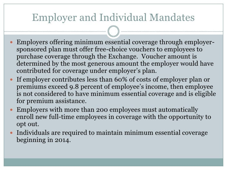 Health care reform what does it mean for Minimum essential coverage plan design