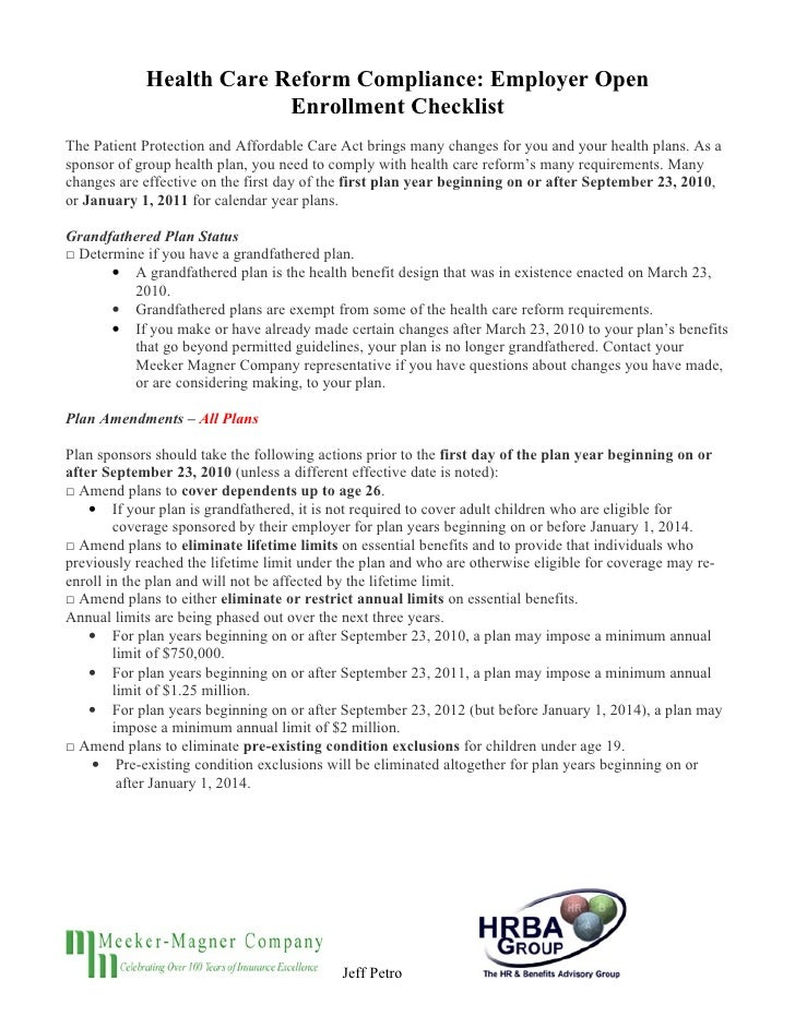 Health Care Reform Compliance: Employer Open                          Enrollment Checklist The Patient Protection and Affo...