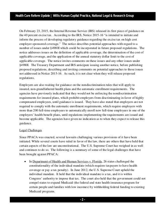 Health Care Reform Developments Week of March 23, 2015[1]