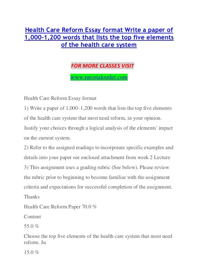 health care reform essay format write a paper of 10001200 words that lists the - Essay Format