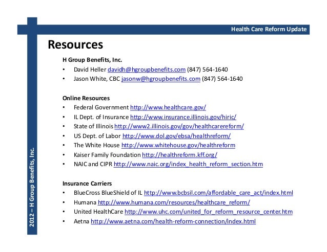 Health Care Reform October 2012 Update