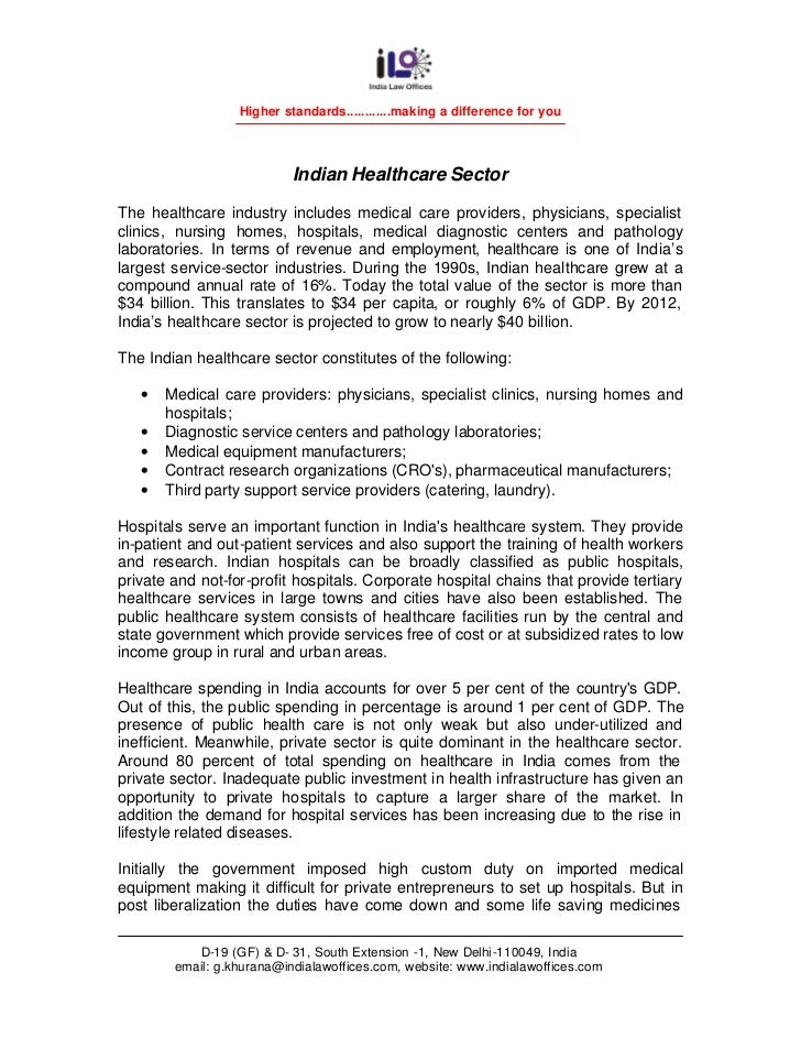 Higher standards............making a difference for you                           Indian Healthcare SectorThe healthcare i...