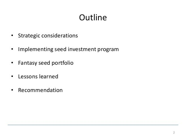 Healthcare seed fund strategy  Slide 2