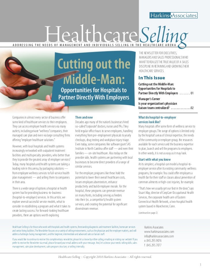 Harkins Associates                                     Healthcare SellingA D D R E S S I N G T H E N E E D S O F M A N A G...