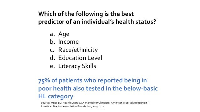 US adults and health literacy Below Basic: Identify how often to have a medical test, based on info in clearly written pam...