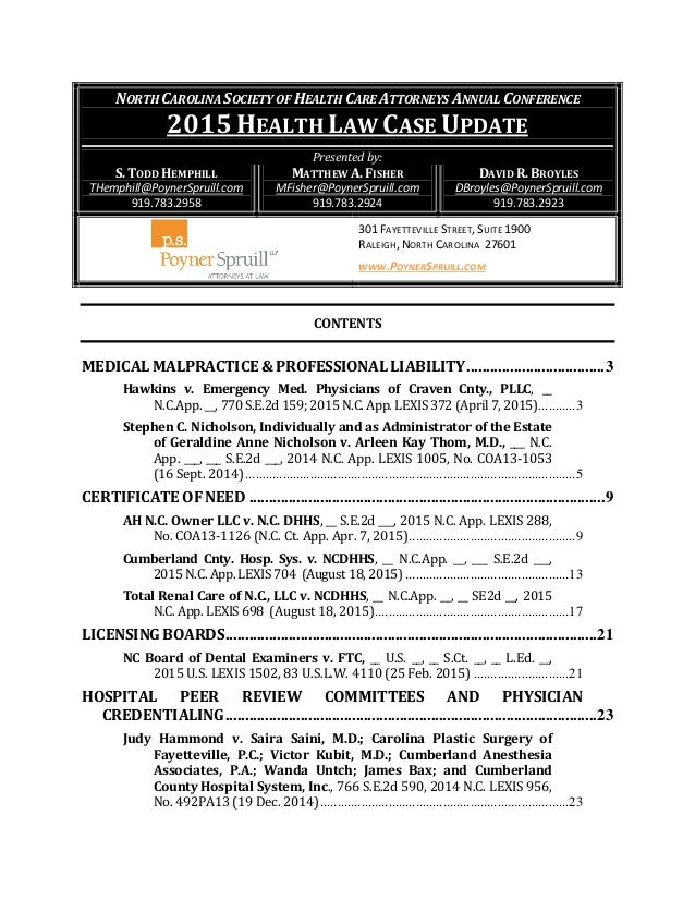 Law Carolina Case North Health Update 2015