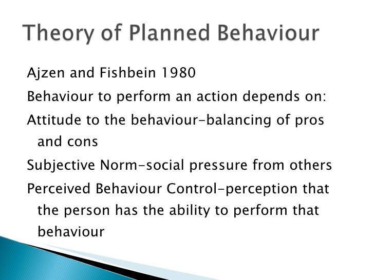 <ul><li>Ajzen and Fishbein 1980 </li></ul><ul><li>Behaviour to perform an action depends on: </li></ul><ul><li>Attitude to...