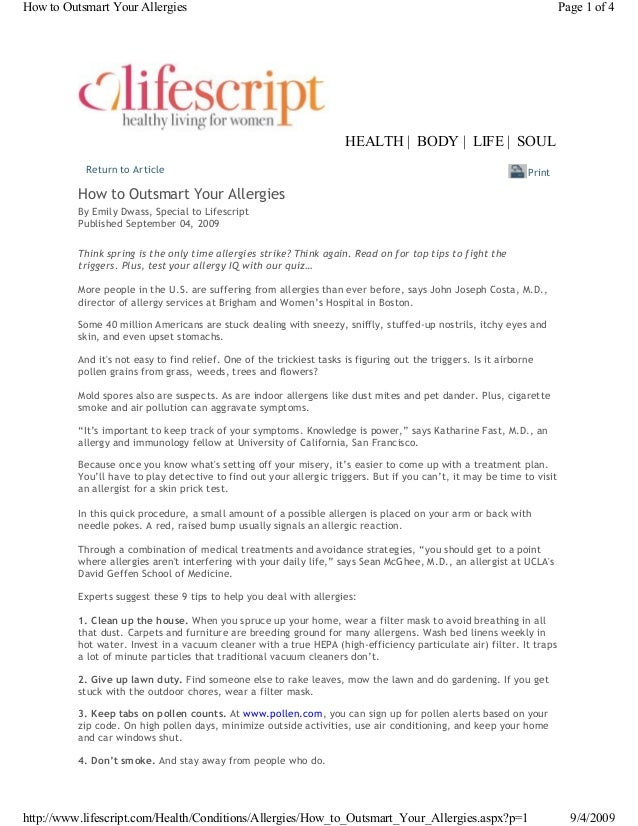 Return to Article By Emily Dwass, Special to Lifescript Published September 04, 2009 Think spring is the only time allergi...