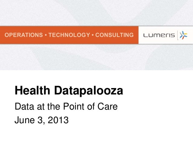 OPERATIONS • TECHNOLOGY • CONSULTINGHealth DatapaloozaData at the Point of CareJune 3, 2013