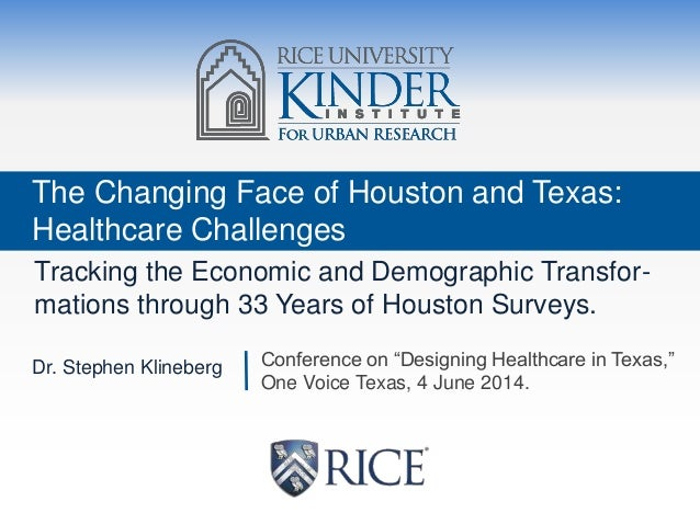 The Changing Face of Houston and Texas: Healthcare Challenges Tracking the Economic and Demographic Transfor- mations thro...