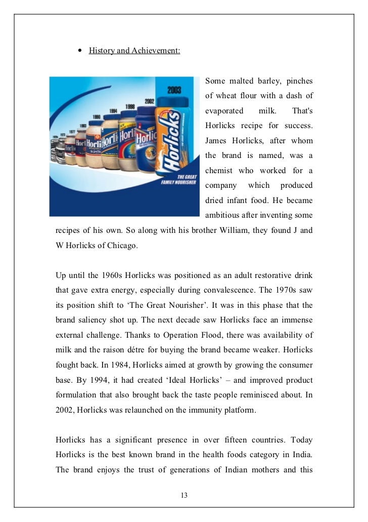 horlicks report Horlicks management report abuse transcript of horlicks management horlicks is manufactured in the factories where it is packed in drums.