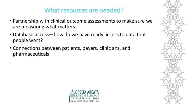What resources are needed? • Partnership with clinical outcome assessments to make sure we are measuring what matters • Da...