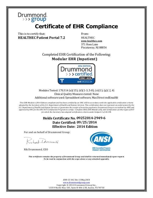 Healthec Patient Portal 72 Inpatient Modular Compliance Certificate