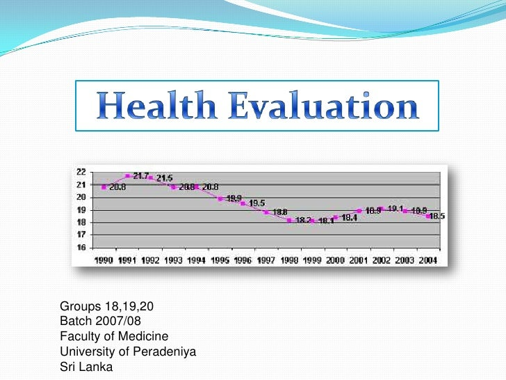 Health Evaluation<br />Groups 18,19,20<br />Batch 2007/08<br />Faculty of Medicine<br />University of Peradeniya<br />Sri ...