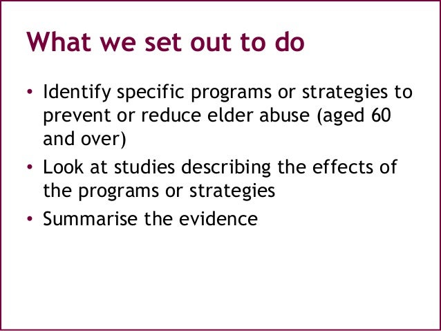 Elder Abuse Research: A Systematic Review
