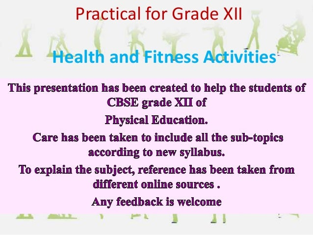 Health and Fitness Activities Practical for Grade XII
