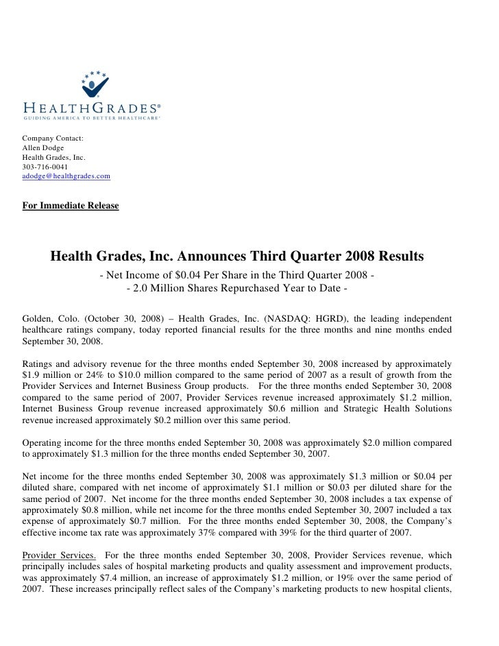 Company Contact: Allen Dodge Health Grades, Inc. 303-716-0041 adodge@healthgrades.com   For Immediate Release            H...