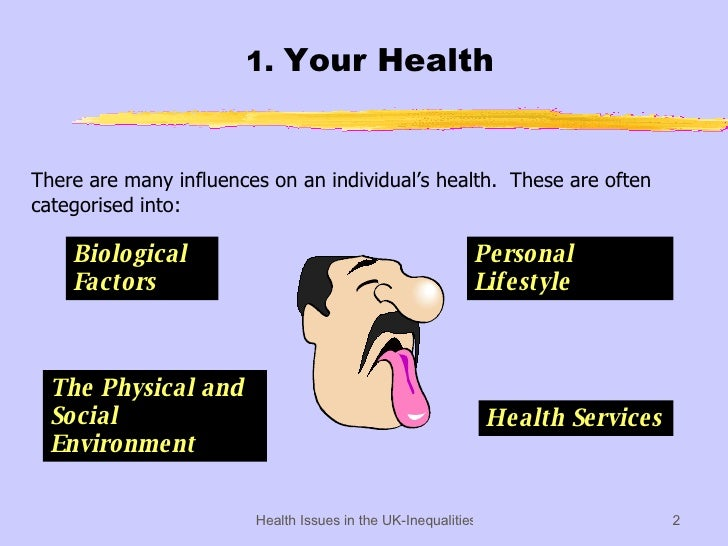 1.  Your Health There are many influences on an individual's health.  These are often categorised into: Biological Factors...
