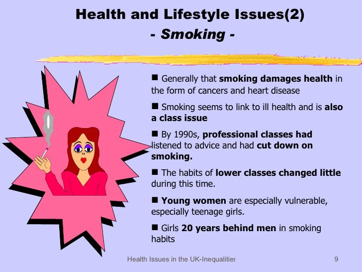 Health and Lifestyle Issues(2)  -  Smoking - <ul><li>Generally that  smoking damages health  in the form of cancers and he...