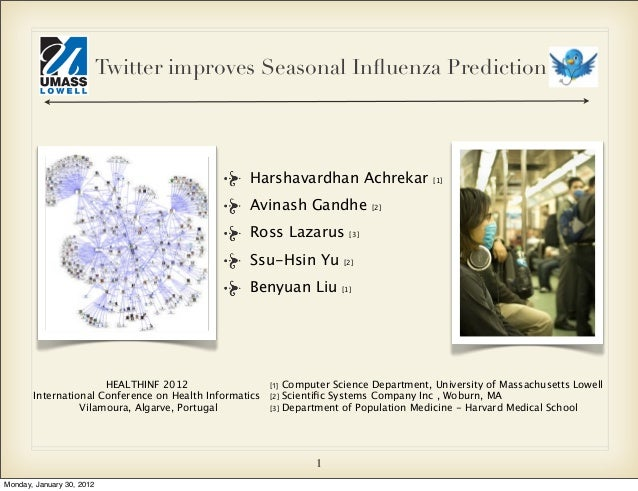 Twitter improves Seasonal Influenza Prediction  Harshavardhan Achrekar Avinash Gandhe Ross Lazarus  [2]  [3]  Ssu-Hsin Yu  ...
