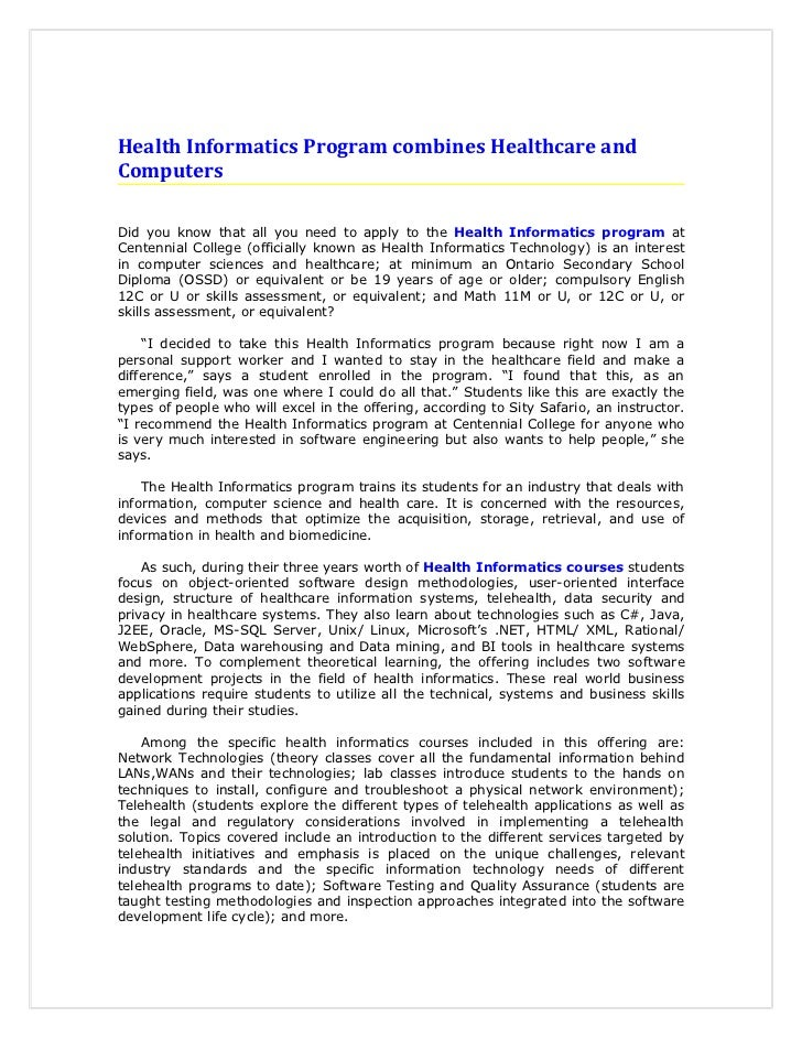 Health Informatics Program combines Healthcare andComputersDid you know that all you need to apply to the Health Informati...