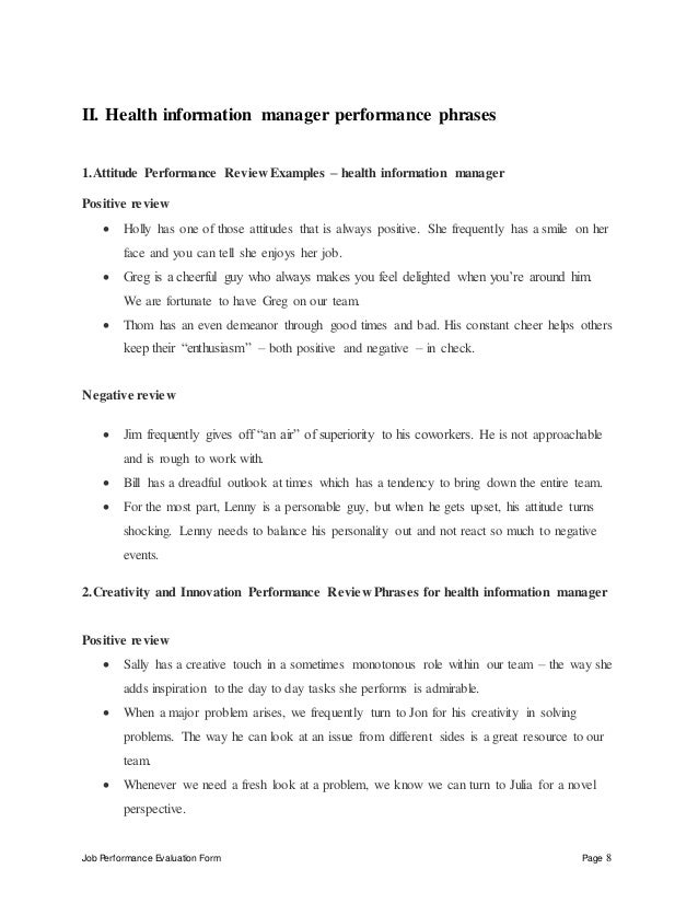 Health Information Manager Perfomance Appraisal 2