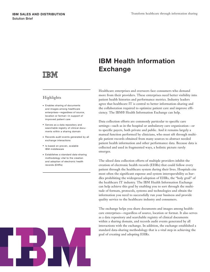 Health Information Sharing Software: IBM Health Information Exchange