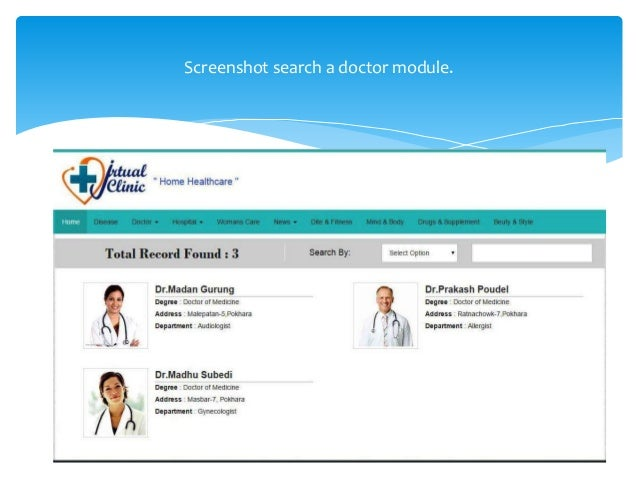 Screenshot search a doctor module.