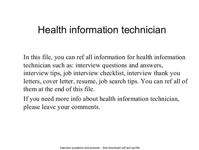 Nice Interview Questions And Answers U2013 Free Download/ Pdf And Ppt File Health  Information Technician In ...
