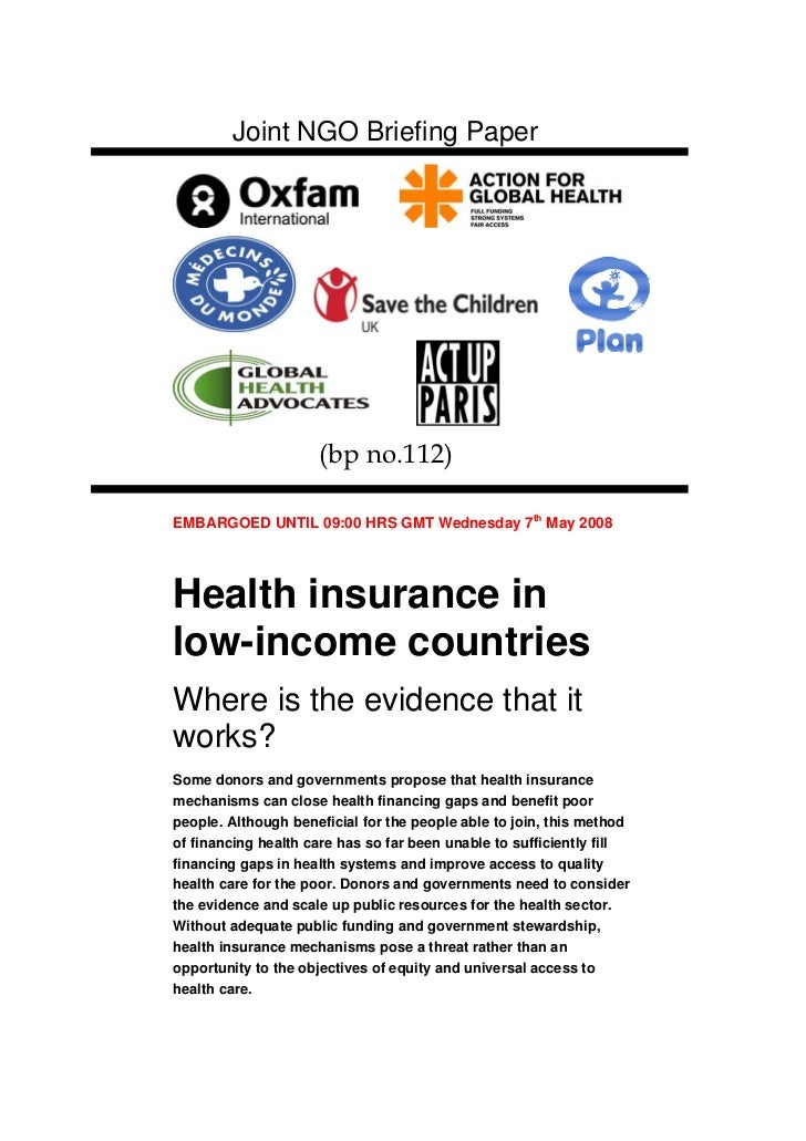 Joint NGO Briefing Paper                     (bp no.112) PaperEMBARGOED UNTIL 09:00 HRS GMT Wednesday 7th May 2008Health i...