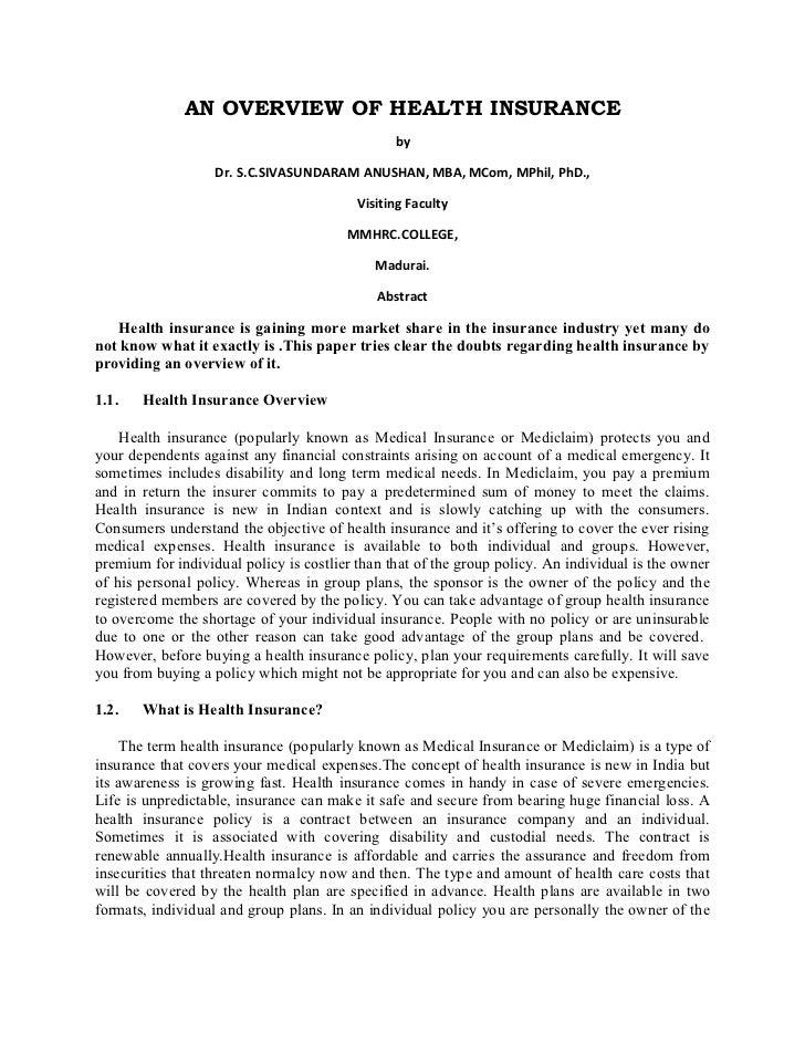 AN OVERVIEW OF HEALTH INSURANCE                                                by                   Dr. S.C.SIVASUNDARAM A...