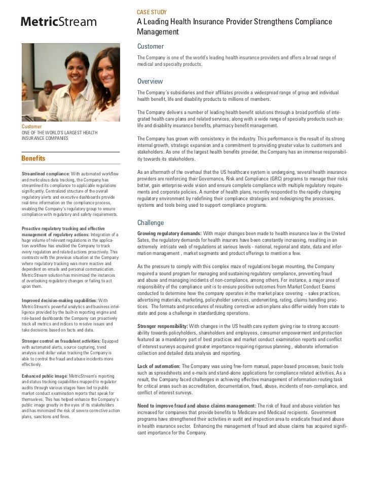 CASE STUDYMetricStream                                             A Leading Health Insurance Provider Strengthens Complia...