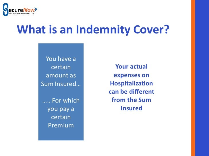 What is an Indemnity Cover?     You have a       certain                 Your actual      amount as               expenses...