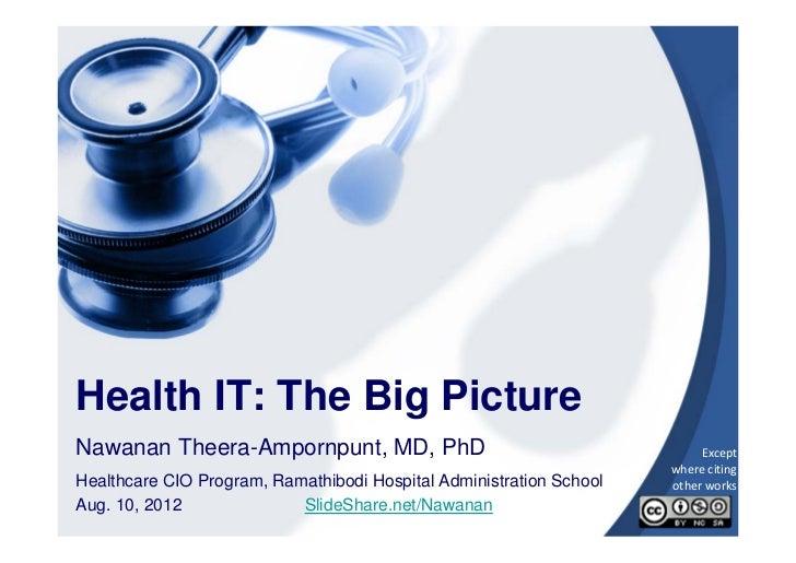 Health IT: The Big PictureNawanan Theera-Ampornpunt, MD, PhD                                        Except               ...